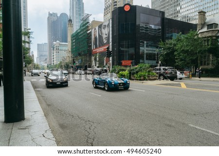 Chicago, IL, USA â?? September 25, 2015: Shelby Cobra racing on the street of Chicago. This is one of the three cars, created in the late 60s Carroll Shelby.