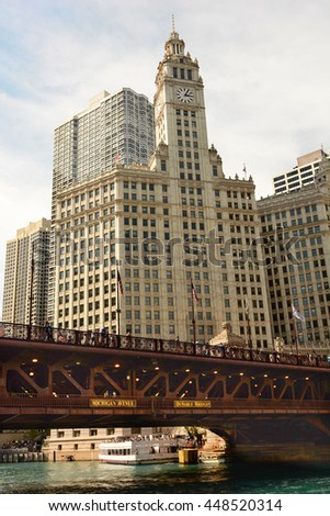 CHICAGO, ILLINOIS - AUGUST 22, 2015: Michigan Avenues, DuSable Bridge with The Wrigley Building in the background.