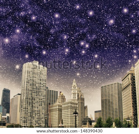 Chicago, Illinois. Beautiful view of Buildings with colourful sky. - stock photo