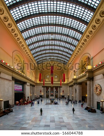 CHICAGO, ILLINOIS - DECEMBER 4: The Great Hall inside Union Station on December 4, 2013 in Chicago, Illinois - stock photo