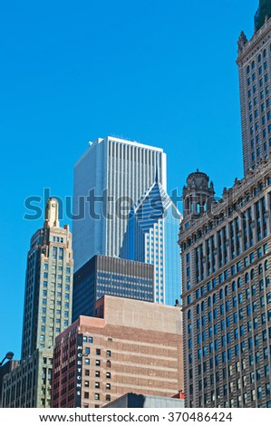 Chicago, Illinois: details of skyline and Two Prudential Plaza from a canal cruise on Chicago River on September 22, 2014. Two Prudential Plaza, known as the famous landmark, was built in 1990 - stock photo