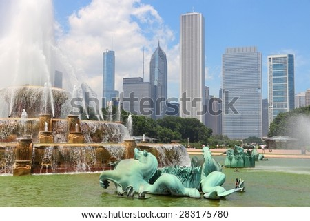 Chicago, Illinois in the United States. City skyline with Buckingham Fountain. - stock photo
