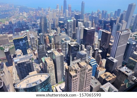 Chicago, Illinois in the United States. City skyline with Lake Michigan.