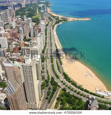 Chicago, Illinois in the United States. City skyline with Lake Michigan and Gold Coast historic district.
