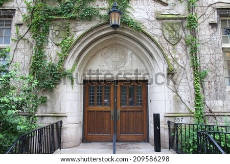 Chicago, Illinois in the United States. Entrance to Northwestern University - School of Law. - stock photo