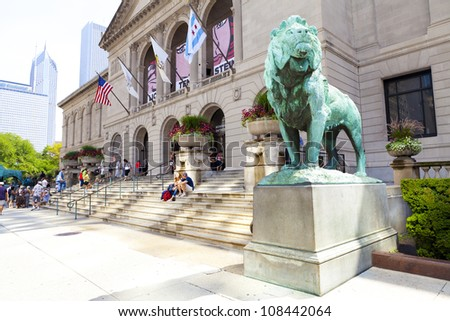 CHICAGO, ILLINOIS - JUL 21: The Art Institute of Chicago has one of the world's most notable collections of Impressionist and Post-Impressionist art, on July 21, 2012 in Chicago, Illinois, USA. - stock photo
