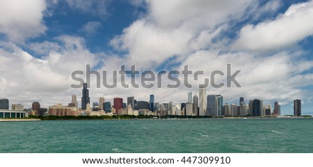 CHICAGO, ILLINOIS - JULY 1: Chicago skyline from the Adler Planetarium on July 1, 2016 in Chicago, Illinois - stock photo