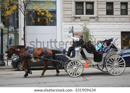 CHICAGO, ILLINOIS - OCTOBER 24, 2015: Horse Carriage at Michigan Avenue in downtown Chicago