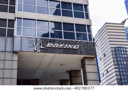 CHICAGO, ILLINOIS - OCTOBER 15, 2012 -  view of the facade of the offices of the construction company headquarters of Boeing aircraft in the city of Chicago
