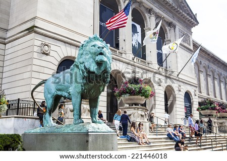 CHICAGO, ILLINOIS - SEP 28: The Art Institute of Chicago has one of the world's most notable collections of Impressionist and Post-Impressionist art, on September 28, 2014 in Chicago, Illinois, USA. - stock photo