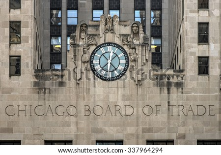 Chicago, Illinois - September 5, 2015: Chicago Board of Trade Building, Chicago, Illinois. The art deco building was built in 1930 and first designated a Chicago Landmark on May 4, 1977. - stock photo