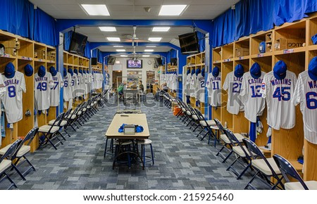 CHICAGO, ILLINOIS - SEPTEMBER 8: Chicago Cubs locker room at Wrigley Field on September 8, 2014 in Chicago, Illinois - stock photo
