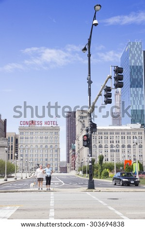CHICAGO, ILLINOIS - SEPTEMBER 6: Congress Plaza Hotel on September 6, 2012 in Chicago, Illinois. Opened in 1893, for the World's Columbian Exposition, the story edifice was designed by C. J. Warren. - stock photo