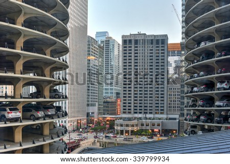 Chicago, Illinois - September 5, 2015: Marina City is a complex of two 60-story towers built in 1964  in Chicago, USA. Apartments, offices, restaurants, banks, theater,18 stories of parking space. - stock photo