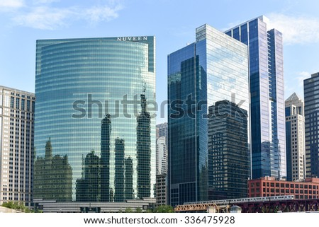Chicago, Illinois - September 5, 2015: 333 West Wacker Drive is a highrise office building in Chicago, Illinois. On the Chicago River side, the building features a curved green glass facade.