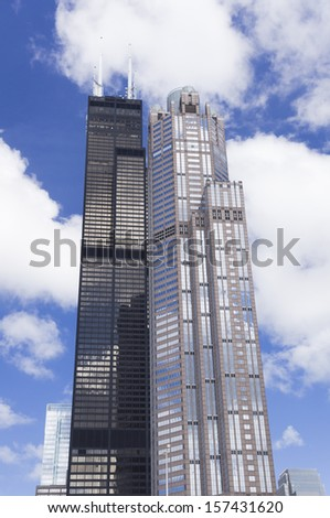 CHICAGO, ILLINOIS - SEPTEMBER 15: Willis Tower on September 15, 2012 in Chicago, Illinois. At the time of its completion in 1973, it was the tallest building in the world, now the second in the USA - stock photo
