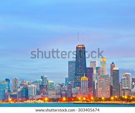 Chicago Illinois skyline at sunset  - stock photo