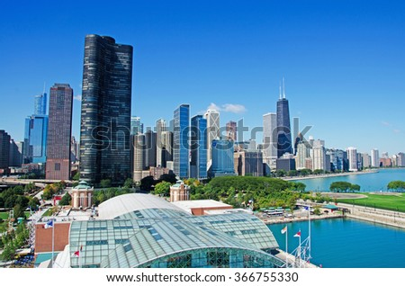 Chicago, Illinois: skyline from Navy Pier, Lake Point Tower and the John Hancock Center on September 22, 2014. The Lake Point Tower was completed in 1968. The John Hancock Center is 1127 feet high