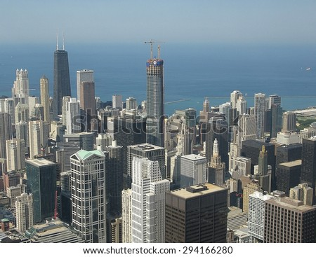 CHICAGO, ILLINOIS, UNITED STATES - JULY 31, 2008: Chicago cityscape with Lake Michigan and skyscraper scenery on July 31, 2008 in Downtown Chicago, Illinois, United States.