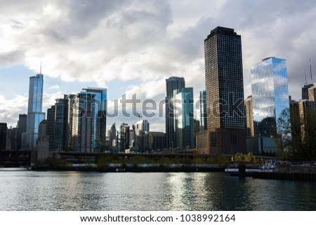 Chicago, Illinois/USA-10/21/2016:  Chicago skyline seen from Lake Michigan.