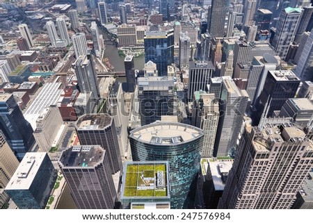 Chicago, Illinois (USA). City architecture aerial view.