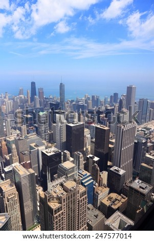 Chicago, Illinois (USA). City architecture aerial view with Lake Michigan. - stock photo