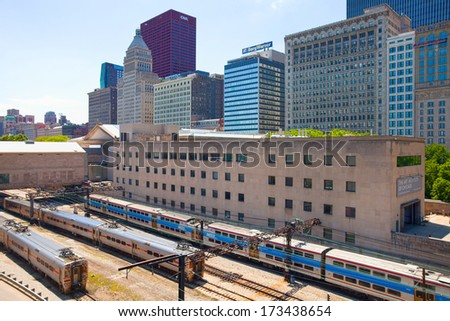 Chicago Illinois, USA-3 June 2013-Metra Rail system provides transportation to 300 000 commuters daily - stock photo