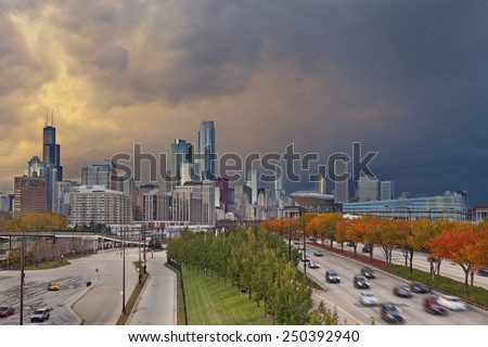 Chicago. Image of Chicago downtown with dramatic sky in autumn. - stock photo
