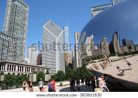CHICAGO - JULY 29, 2011: Cloud Gate sculpture in Millenium park in Chicago, IL. This public sculpture is the centerpiece of the AT&T Plaza in Millennium Park within the Loop community area.
