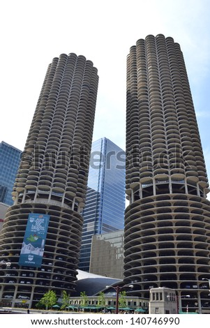 CHICAGO - JUNE 7: Marina Towers on June 7, 2011 in Chicago, Illinois. Marina Towers are comprised of two 60-story residential towers that were built in 1964. - stock photo