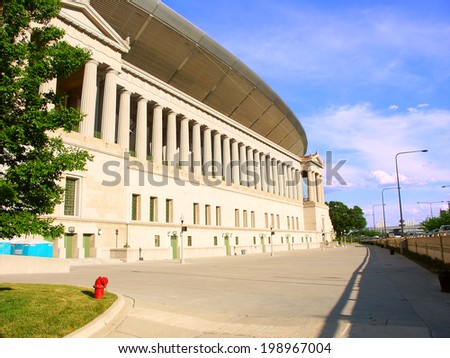 CHICAGO - JUNE 07: Soldier Field on June 07, 2005 in Chicago, Illinois.  Soldier field has been the home of the Chicago Bears football team since 1971. - stock photo