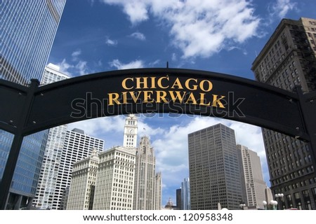 CHICAGO - JUNE 14: The Chicago Riverwalk on June 14, 2010 in Chicago, Illinois. The riverwalk is an ongoing project owned by the Chicago Department of Transportation. - stock photo