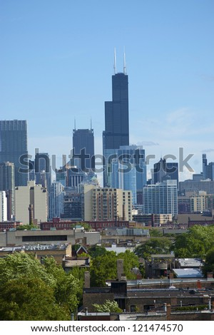 CHICAGO - JUNE 18: The city of Chicago was incorporated as a city in 1837. It is the third most populous metropolis in the United States. Skyline pictured on June 18, 2011 in Chicago, Illinois. - stock photo