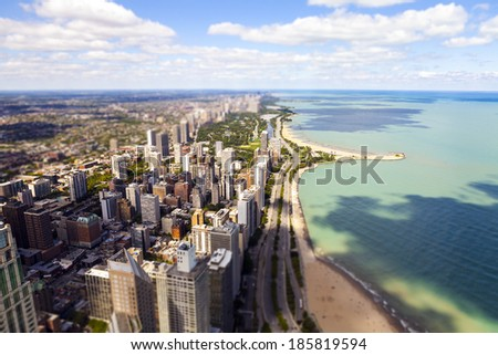 Chicago Lake Shore Drive Aerial View (Tilt Shift Effect) - stock photo