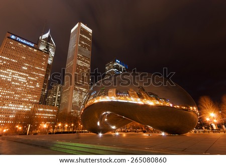 CHICAGO - MARCH 8: Long exposure night photograph of Chicago's Cloud Gate, a public sculpture by Indian-born artist Anish Kapoor, located in the Millennium Park in Chicago, Illinois, on March 8, 2012. - stock photo