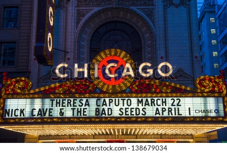 CHICAGO - MARCH 17 : The famous Chicago Theater on State Street on March 17, 2013 in Chicago, Illinois, The iconic marquee often appears in films and television - stock photo
