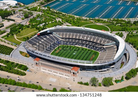 CHICAGO - MAY 18: Aerial view of Chicago Soldiers Filed on May 18th, 2012. Soldiers Field is the oldest NFL operating stadium and is Home of the Chicago Bears since 1971. - stock photo
