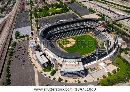 CHICAGO - MAY 18 : Aerial view of U.S. Cellular Field (formerly Comiskey Park) in Chicago on May 18th, 2012. The Baseball Stadium is Home of the Chicago White Sox and has a capacity of 40615. - stock photo