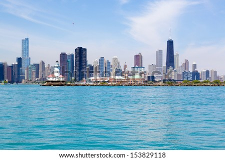 Chicago Navy Pier skyline and lighthouse - stock photo