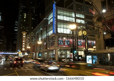 CHICAGO - NOVEMBER 29: A view of Joffrey Ballet and Chicago theater on State St. on November 29, 2013 in Chicago, IL.