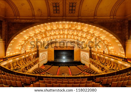 CHICAGO - OCTOBER 14: Empty Auditorium Theatre of Roosevelt University on October 14, 2012 in Chicago, Illinois.
