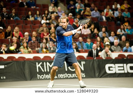 CHICAGO - OCTOBER 17: Pete Sampras on October 17, 2012 competing in the 2012 Powershares QQQ Challenge at the United Center in Chicago. - stock photo