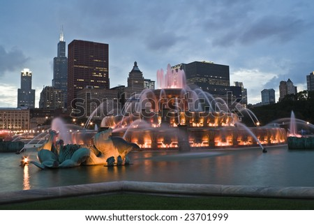 Chicago panorama with Buckingham Fountain in the foreground. - stock photo