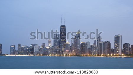 Chicago - Panoramic view from Lake Michigan at Sunset - stock photo