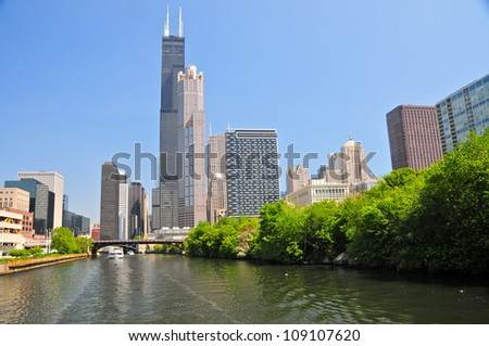 Chicago river and Willis Tower - stock photo