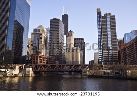 Chicago River - Downtown Chicago, IL. - stock photo