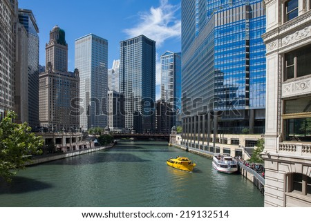 Chicago River, looking west from Michigan Avenue. - stock photo