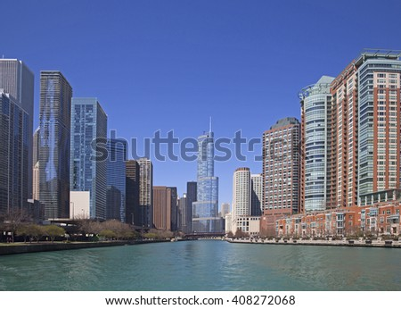 Chicago river view - stock photo