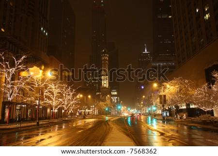Chicago's Michigan Avenue at Night in a Snow Storm