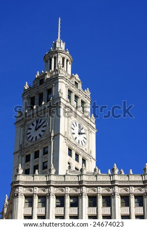 Chicago's Wrigley Building, framed with clear blue sky - stock photo